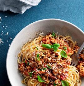 Pasta pollognese är bolognese gjord av kyckling